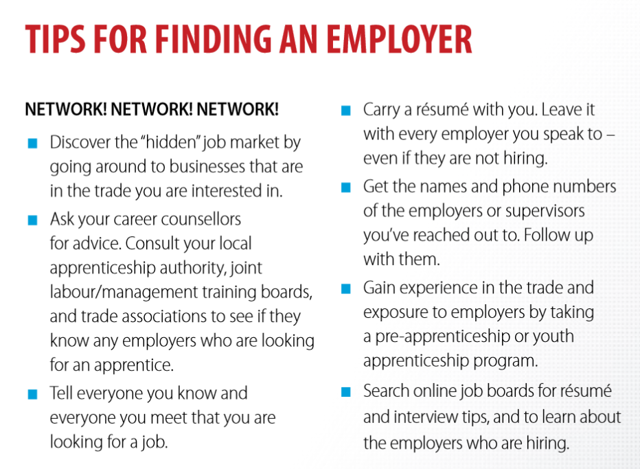 Tips for finding an employer