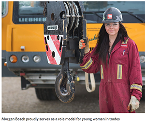 Crane Operator Morgan Bosch proudly serves as a role model for young women in trades